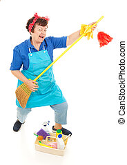 Cleaning Lady Fun - Cleaning lady takes a break to have some...