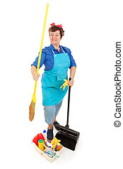 Cleaning Lady Isolated - Happy smiling cleaning lady with...