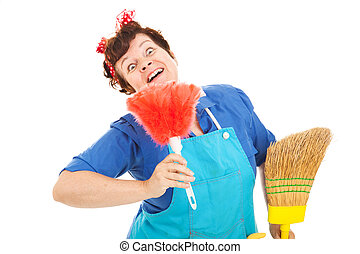 Crazy Cleaning Lady - Cleaning lady with a crazy expression...