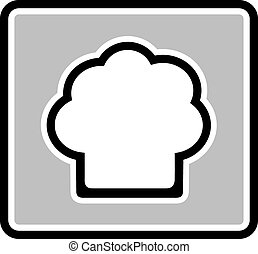 chef hat gray icon - chef hat silhouette on gray icon -...