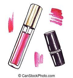 Beautiful Watercolor Lipstick. - Beautiful Lipstick. Hand...