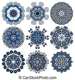 Circle lace ornament, round geometric doily pattern...