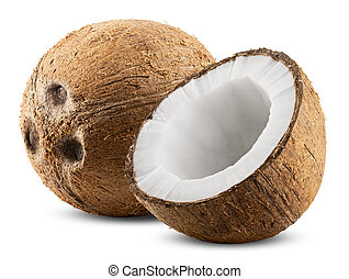 Coconut isolated on white Background Clipping Path