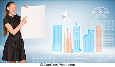 Businesswoman holding empty paper Wire-frame buildings and...