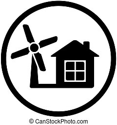 round wind mill icon for home alternative power - black...