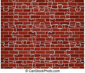 colorful puzzle brick wall illustration