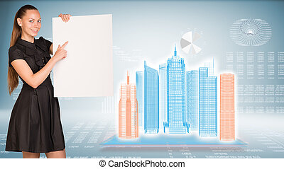 Businesswoman holding empty paper. Wire-frame buildings and...