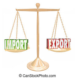 Import Export Words Scale Trade Balance Surplus Deficit -...