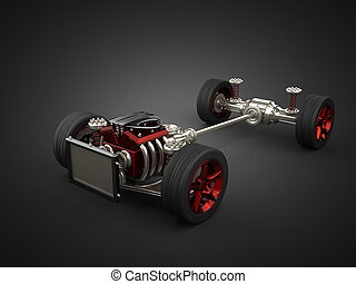 エンジン, 自動車, 車輪, シャーシー