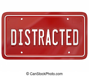 Distracted Driver Word Red License Plate Texting Drivin