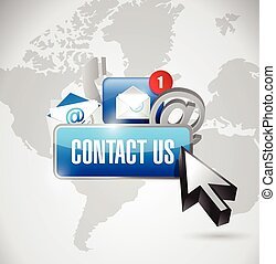 contact us button and icons illustration
