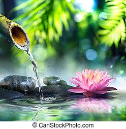 Zen, jardim, com, pretas, pedras,