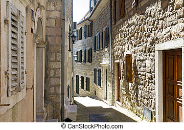 Narrow street of the old town in Herceg Novi, Montenegro