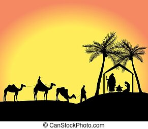 nativity scene - silhouette of the nativity scene