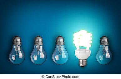 light bulbs  - Idea concept with row of light bulbs