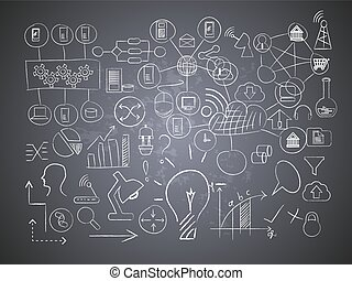 technology drawings on chalk board
