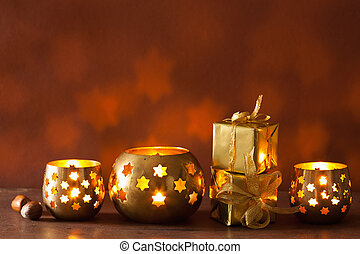 burning christmas lanterns and gifts background