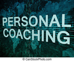 Personal Coaching text concept on green digital world map...