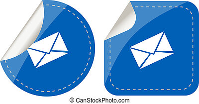 stickers set isolated on white with paper mail envelope, security concept