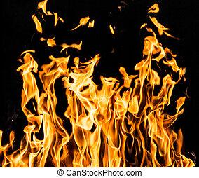 chama, fogo, ligado, pretas, fundo,