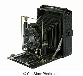 old folding camera - vintage folding camera isolated in...