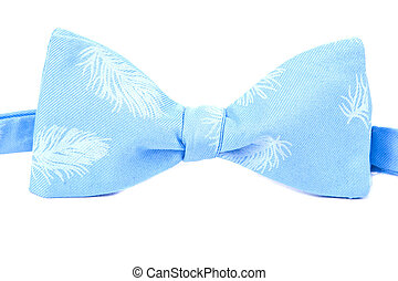 blue bow tie with a feather pattern isolated on white...