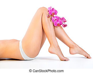 beautiful legs and orchids  - beautiful legs and orchids