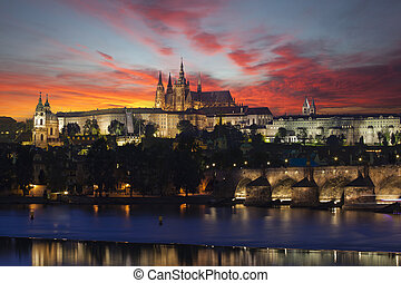 Prague at epic dawn, Charles bridge and Prague castle