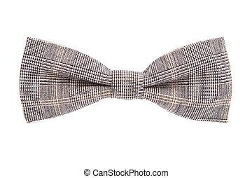 checkered, arc, cravate, isolé, sur, blanc, fond,