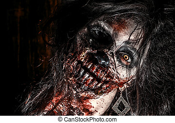 face of zombie - Close-up portrait of a scary bloody zombie...