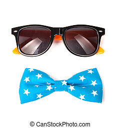 U.S. American flag on a bow tie and sunglasses isolated on white background