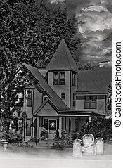 Haunted Mist - Tombstones in front of haunted house in the...