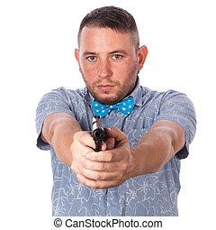 azul, verão, camisa, isolado, mão, sério, adulto, fundo, tu, homem, laço, branca, apontar, arma de fogo, arco, barba