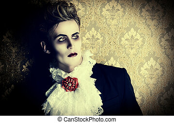 prince vampire - Portrait of a handsome male vampire over...
