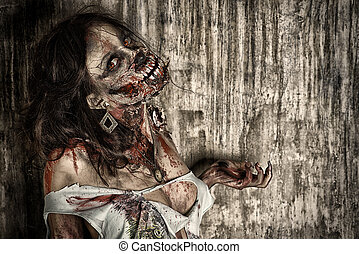 terrific - Close-up portrait of a scary bloody zombie girl....