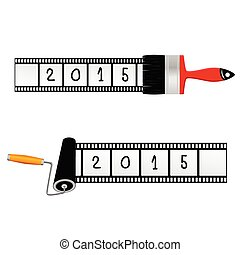 paint roller and brush with film for 2015 year