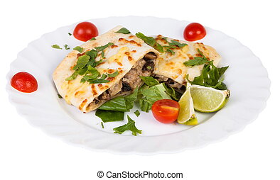 Chimichanga Mexican cuisine isolated on white background