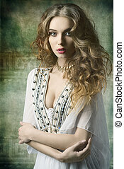 lovely antique dame - lovely dame with antique style and...