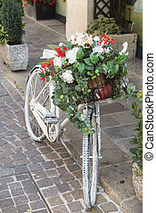 old bicycle with flower