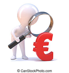 3d Little man looks at the Euro through magnifying glass