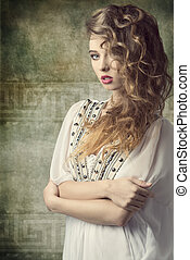 cute retro woman - sexy curly woman with stylish make-up...