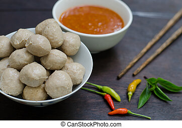 Meatballs with spicy sauce, Thai food