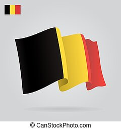 Flat and waving Belgian Flag. Vector illustration