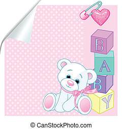 "Baby pink - Pink pattern with Teddy Bear and word ""baby\""..."