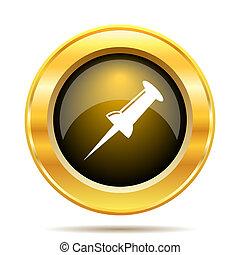 Pin icon. Internet button on white background.