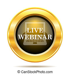 Live webinar icon. Internet button on white background.