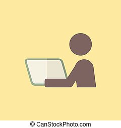 Distance Learning Icon - Flat Distance Learning Icon. Vector...