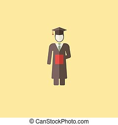 Graduation Icon - Flat Graduation Icon. Vector Graphics.