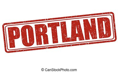 Portland stamp - Portland grunge rubber stamp on white...