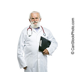 Old male doctor with stethoscope holding folder - Portrait...